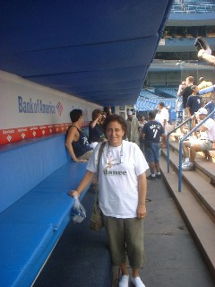 Chris's sister Elizabeth in the Yankee Dugout